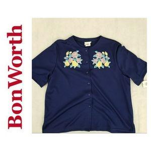 Bon Worth Women's Blue  Embroidered size m